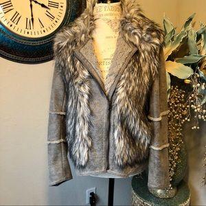 Kristen Blake gray Faux fur Moto jacket